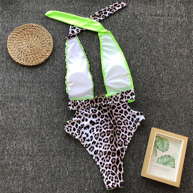 Sexy Leopard Print Stitching Hollow Buckle One-Piece Swimsuit