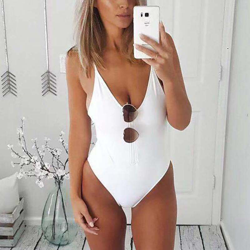 Zipper Solid Color Sling One-Piece Swimsuit