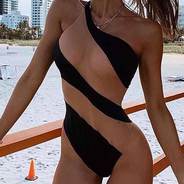 Contrast Stitching Sexy Mesh See-Through Bikini