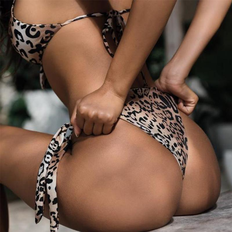 Leopard Print  Laced Up Sexy Bikini