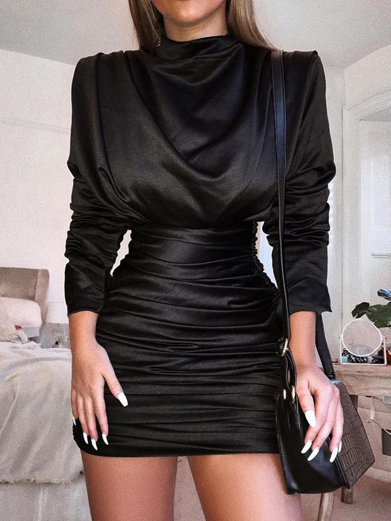 CUTOUT BACK RUCHED BODYCON PARTY DRESS