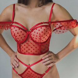 Sexy Lace Off shoulder Cropped Bustier Polka Dot  Underwear Set