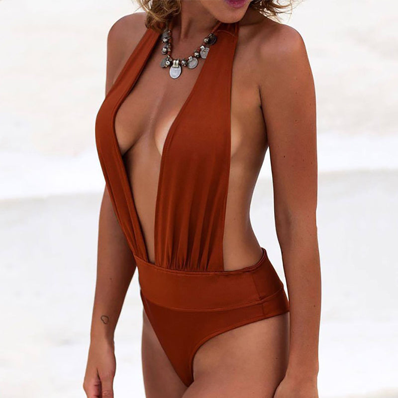 Sexy V Neck Solid Color Beachwear