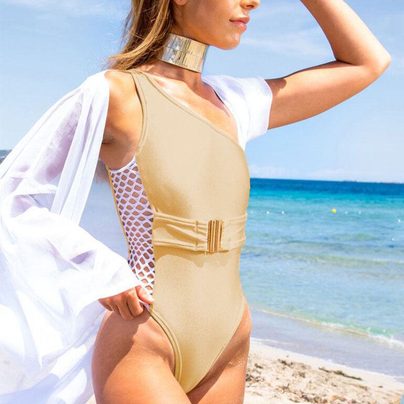One-shoulder Belt Mesh Bikini One-piece Swimwear