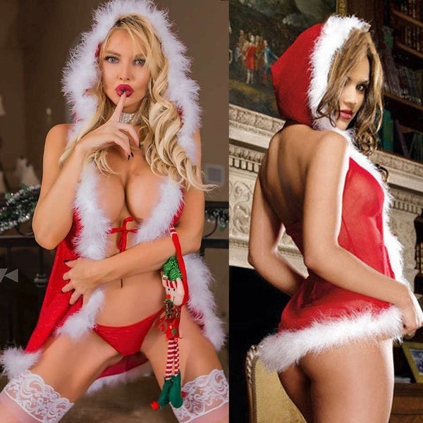 Sexy Lingerie Santa Claus Christmas Red Babydoll Dress Sleepwear