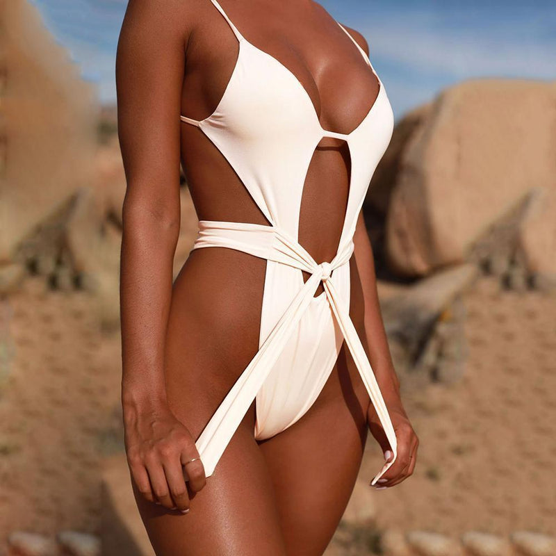 Sexy bikini halter straps one-piece swimsuit