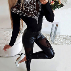 Womens Patchwork Lace up High Waist Slim Pu Pants