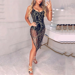 Fashion Women Sexy Bandage Lace Midi Dress Elegant Off shoulder Sequins Bodycon Dress Evening Party Club robe femme Streetwear