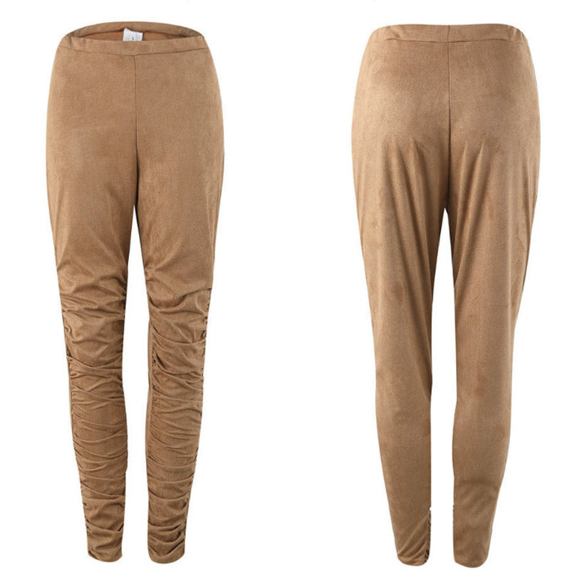 Decorative Buttons Plain Pants
