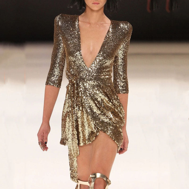 Casual Deep V neck sexy sequined evening Mini dress