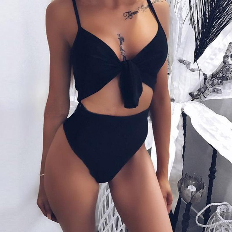 Spaghetti Strap Cutout Patchwork Sexy One Pieces