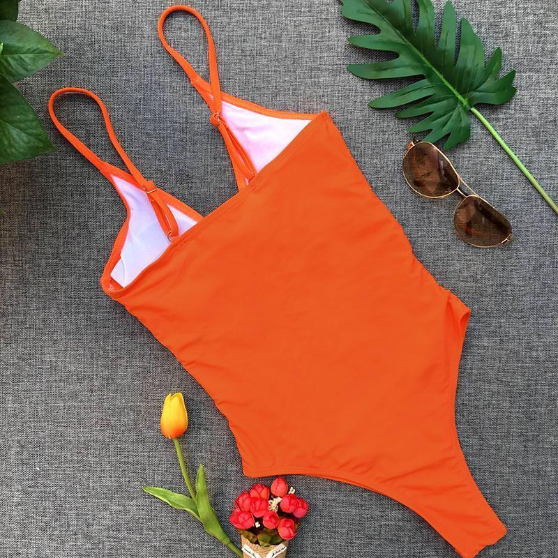Sexy bikini bow one-piece swimsuit