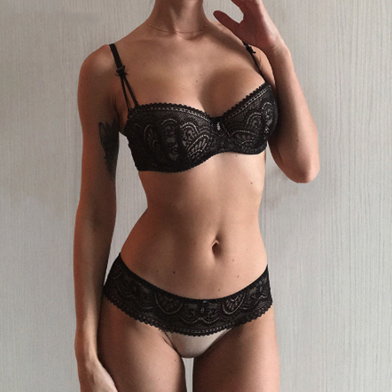Fashion Black Bra Set Half Cup Plunge Thin Brassiere Women Bras Sexy Underwear Sets