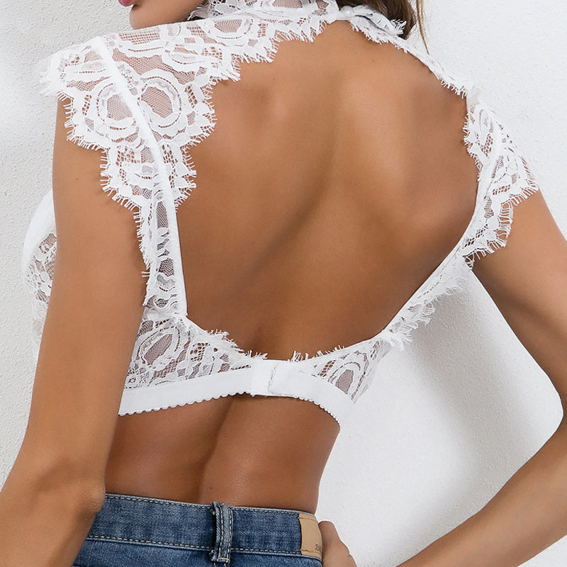 4 Colors Lace Crop Top Women Bandage Backless Tops