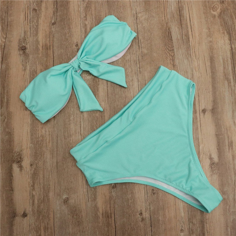 Solid Color High Waist Knotted Pit Bikini
