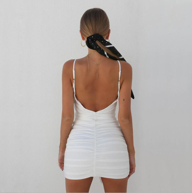 Beach Casual Pure Color Backless Swimsuit