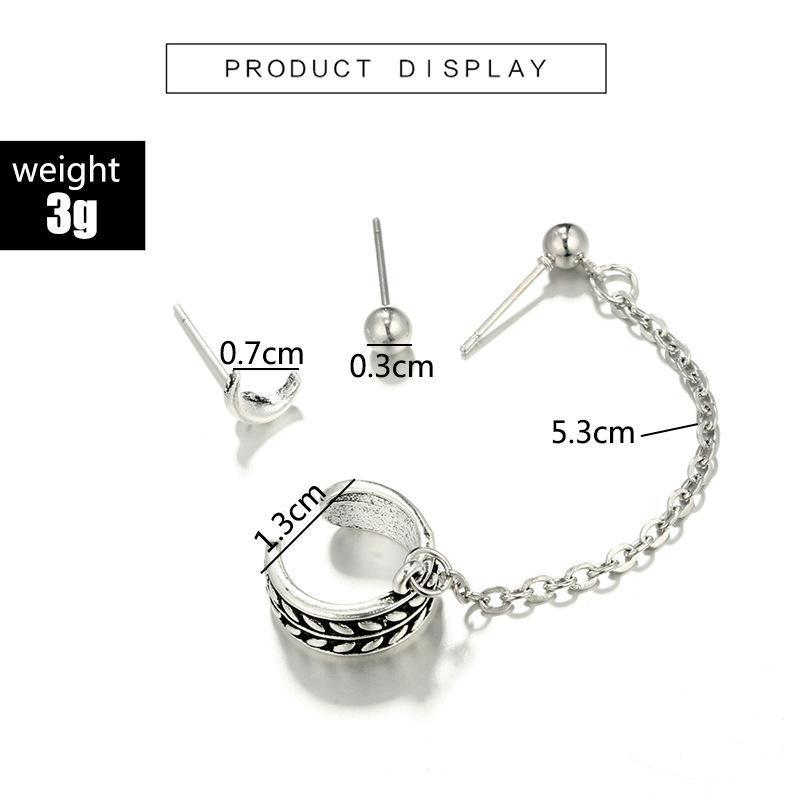 Moon Round Alloy Chain Earrings Ear Clip Retro Suit