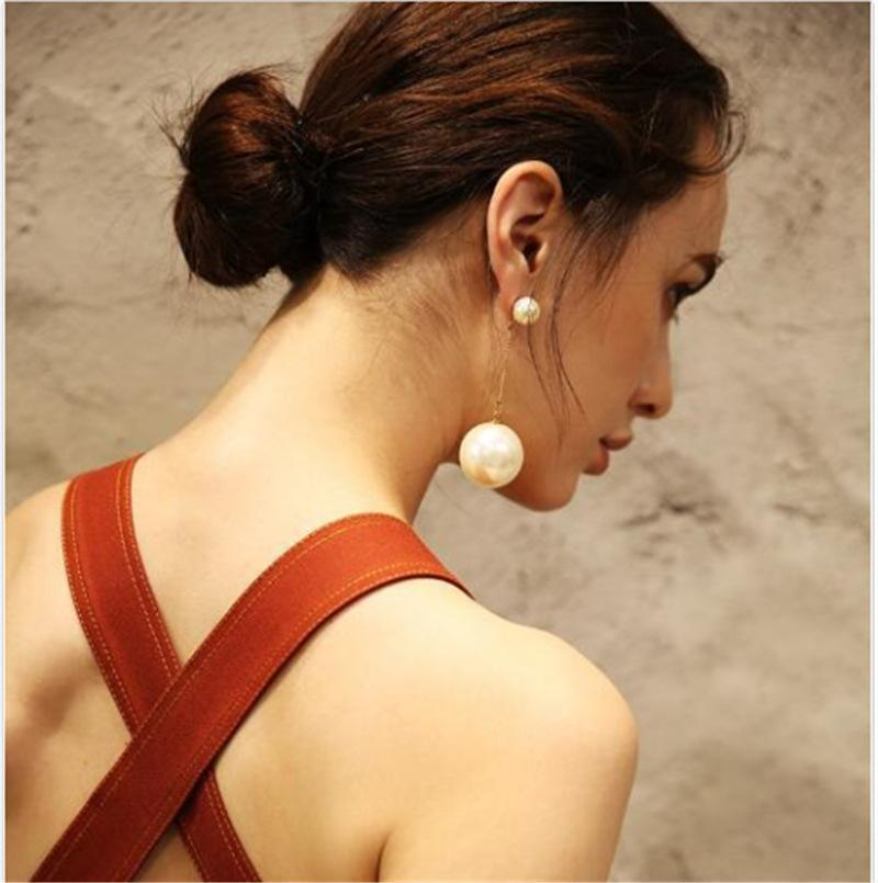 Woman Pearl Pendant Long Earrings
