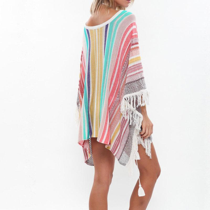 Knitted Multi-Color Fringed Beach Blouse