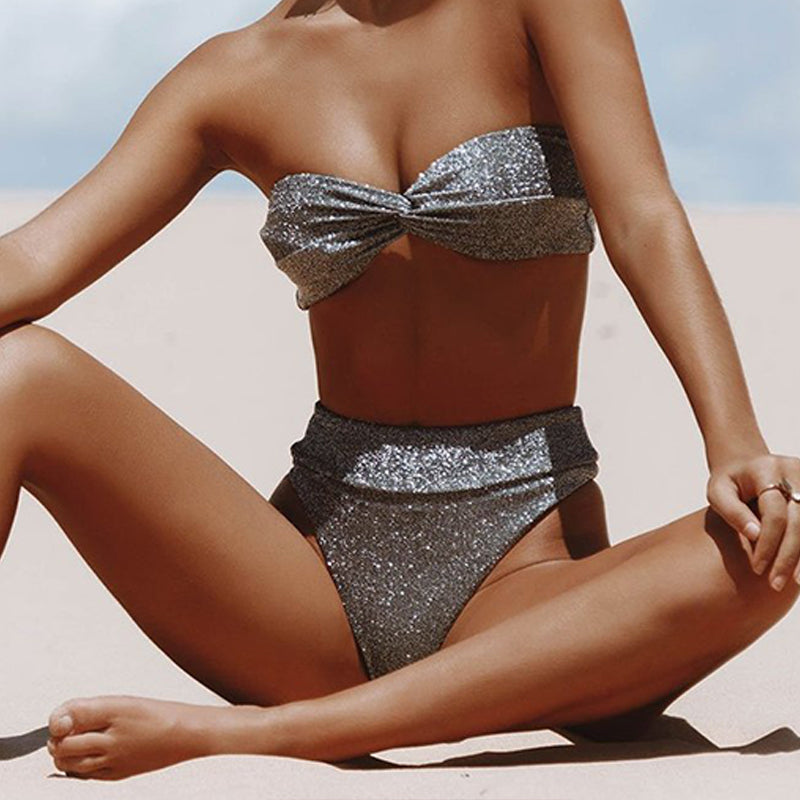 Woman Split Swimsuit Filigree Sexy High Waist Bikini