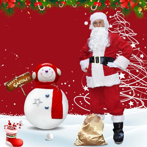 Adult Santa Claus Costume Suit Plush Father Fancy Clothes