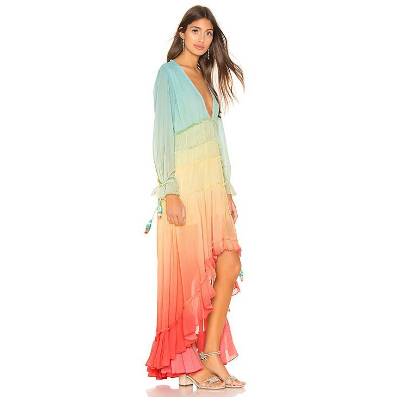 Fashion Gradation V Neck Waist Maxi Dresses