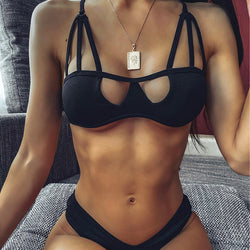 2020 Mesh bathing suit Black ribbed bikinis