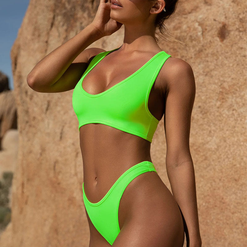 Fluorescent green plain Casual Swimsuit