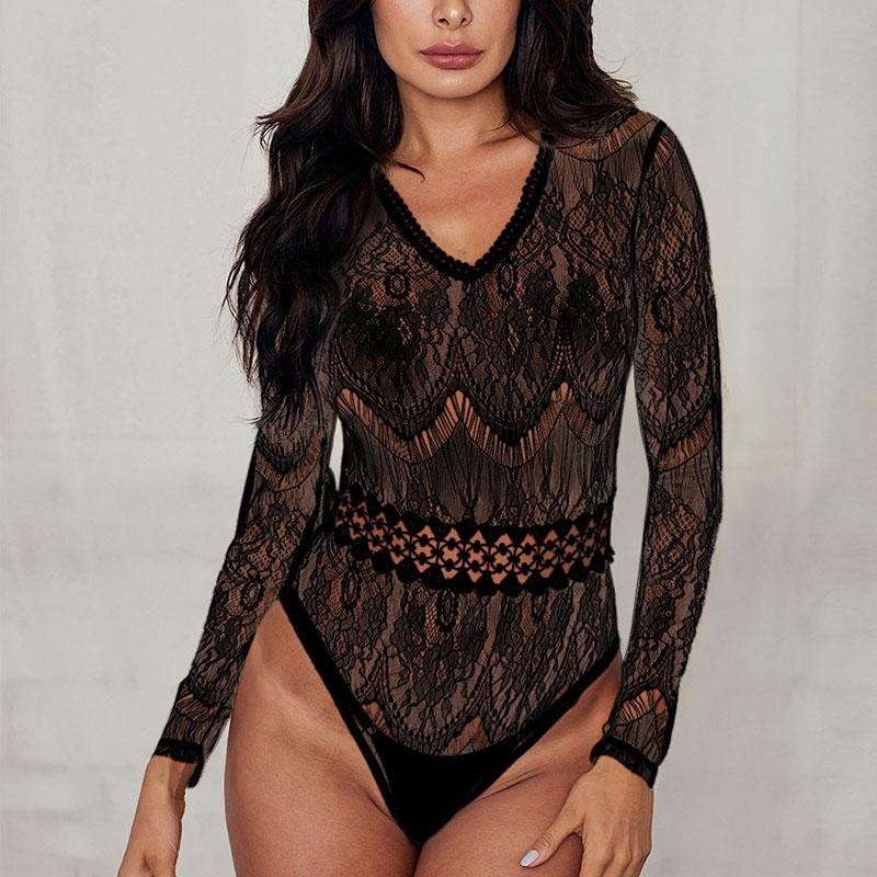 Sexy Lace Long Sleeve Bodysuit