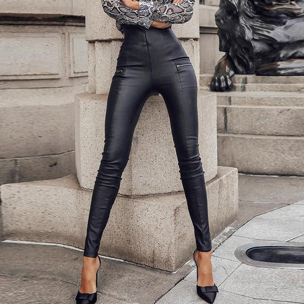 High Waist Pants Women Solid Color Tight Fitting Leather Pants