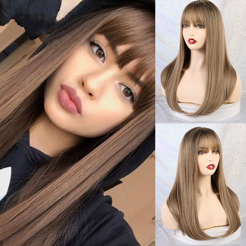 Long Straight Brown Wigs Cosplay Wigs Heat Resistant Fiber