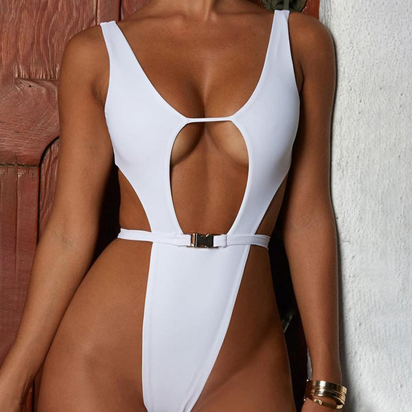 Spaghetti Strap  Backless  Plain one pieces