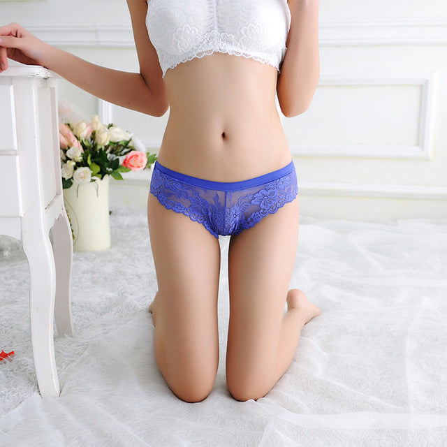 Sexy Underwear Women Lace With Back Bow Briefs Thong Transparent Panties Seamless Low Waist Women Lingerie Panty Tangas