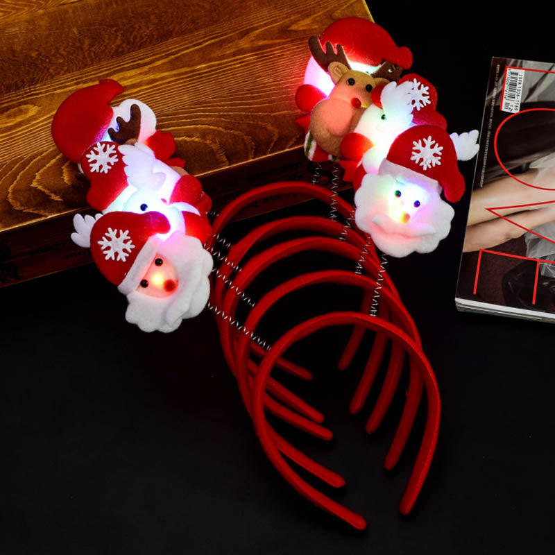 Christmas Headband Light Up Hat Glasses Pen Brooch Accessories