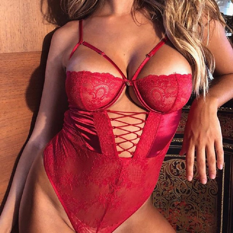 Cryptographic Red Strappy Lace Up Bodysuit Sexy Backless