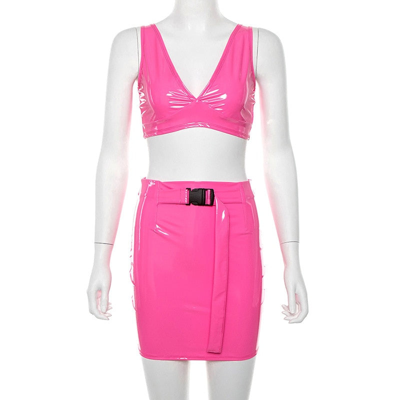 Hot Pink PU Leather Matching Sets Sexy Two Piece Top and  Skirts Set