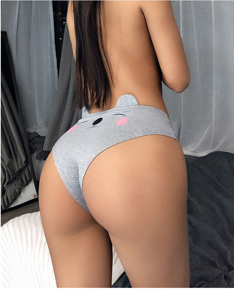 Womens' Cute Underwear Briefs With Cat Ear Cotton Comfortable And Breathable Panty Solid Sexy Lingeries