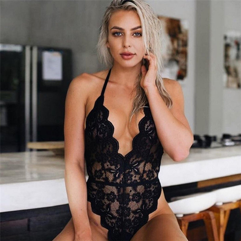 Women Sexy Backless Lace Onesies Halter  Deep-V One-piece
