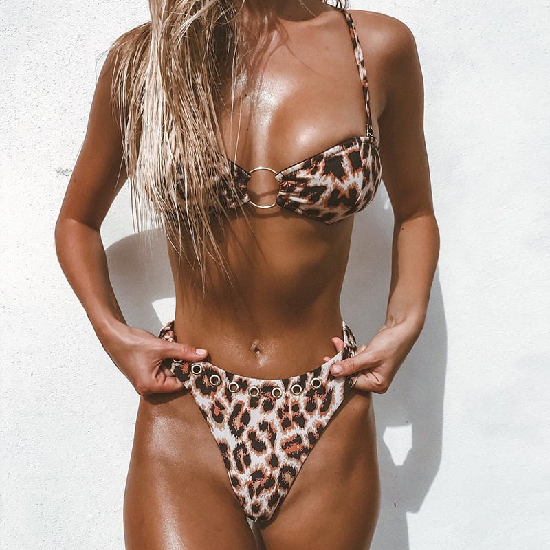 leopard bikinis High cut sexy swimsuit