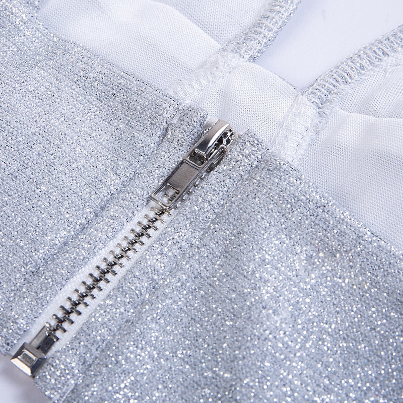 Silver Lurex Sparkly Sexy Crop Tops Party Clubwear