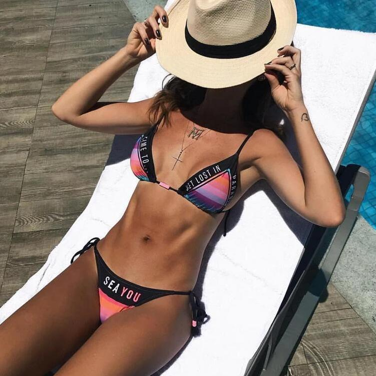 2020 summer new Letter Print  Push Up Beach 2 Piece Swimsuit