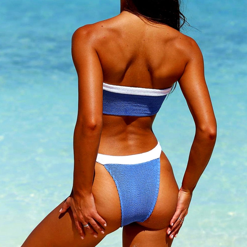 female bathing suit bandeau Patchwork swimwear