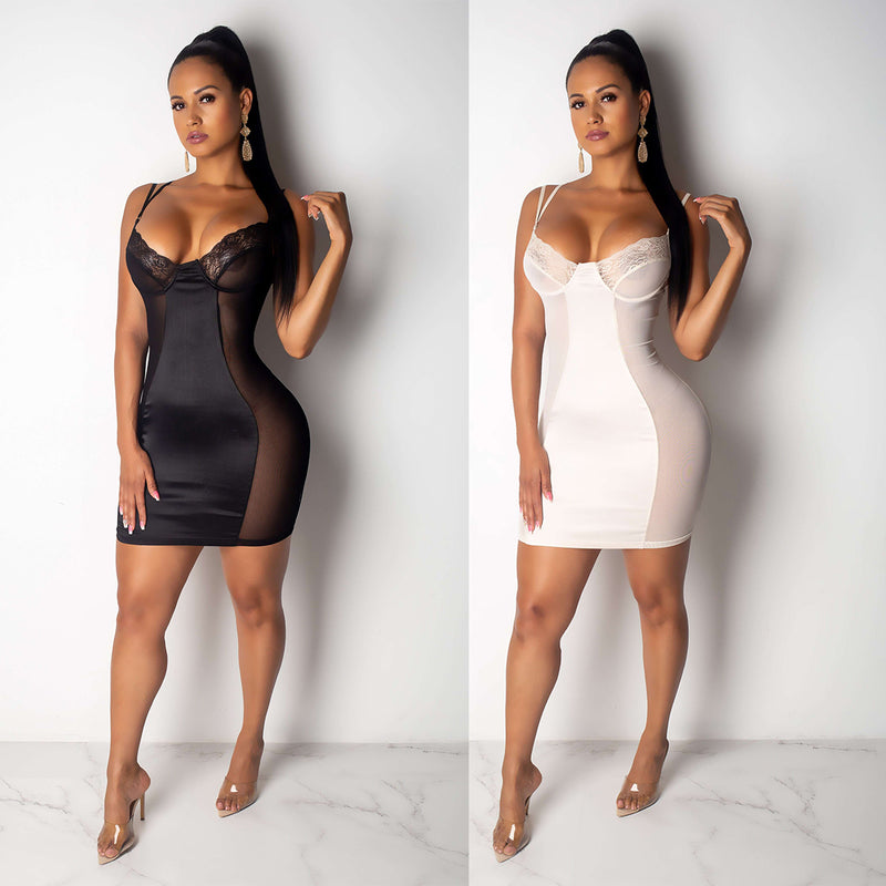 Sexy Dress Women Lace Mesh Sheer Deep V-neck Dresses Black White Fashion Mini Bodycon