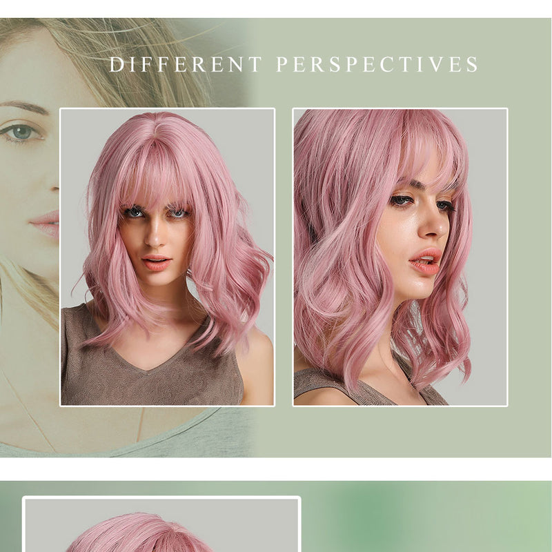 "Haircube 14"" Synthetic Hair Pink Colors Short Water Wave Wigs"