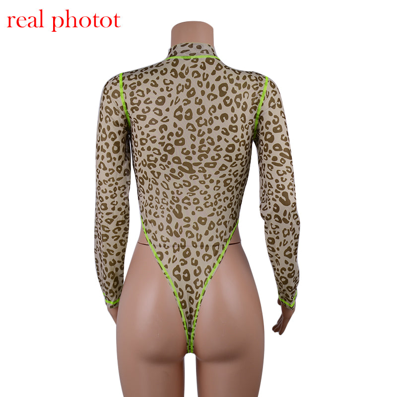 Cryptographic Neon Long Sleeve Leopard Bodysuit