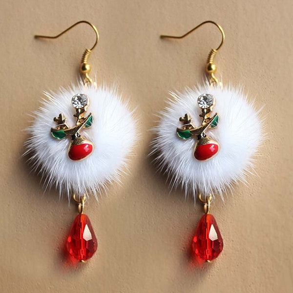 Christmas  New Year Gift Red Crystal Drop Earring