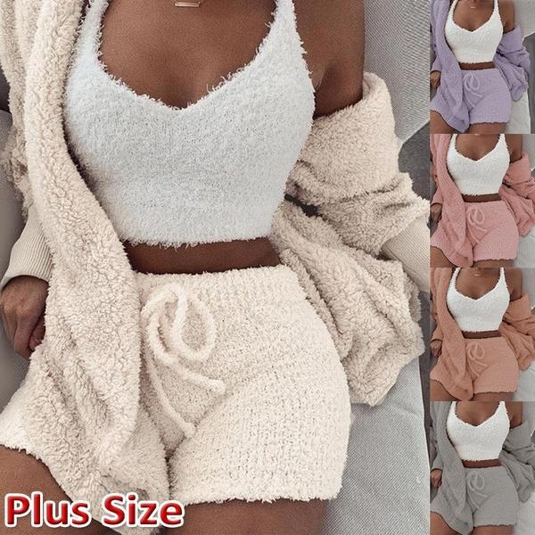 Women Fleece Clothes Set Top Cardigan Shorts 3 Pcs Loose Fashion Casual Sexy New Ladies Clothing Sets