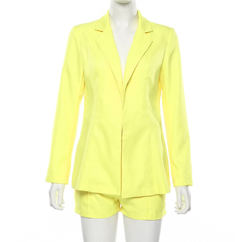 Office Lady Set Sexy Solid Neon Orange Notched Collar Short Blazer Suit