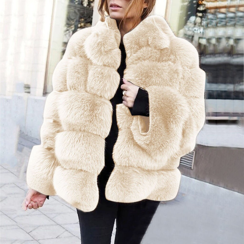 Plus Size S-4XL Luxury Warm Winter Women's Short Faux Coat