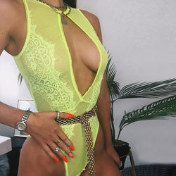 Yellow Green Mesh Floral Bodysuit